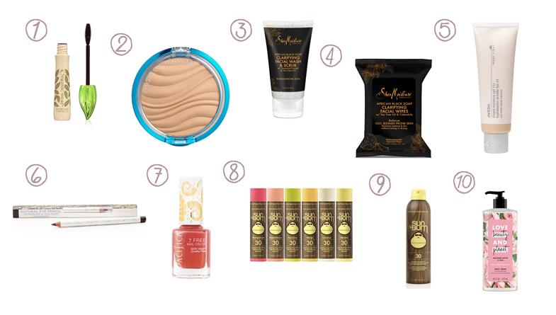Chart of makeup cosmetics sunscreen