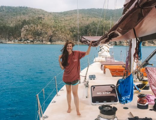 Girl on sailboat in Whitsundays Australia