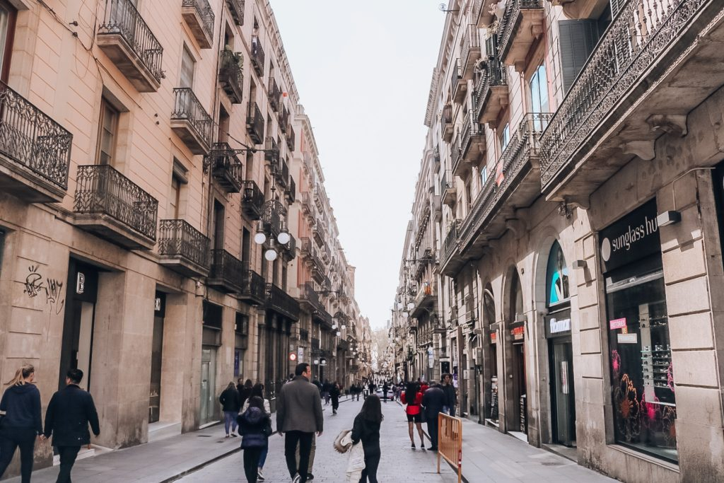 Street in Gothic quarter Barcelona