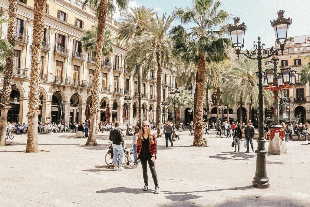 Plaza Real in Gothic quarter Barcelona