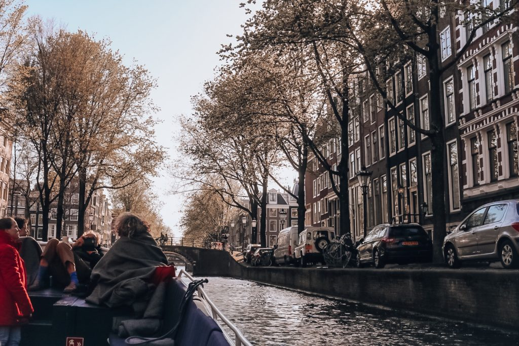 View of canals from boat in Amsterdam