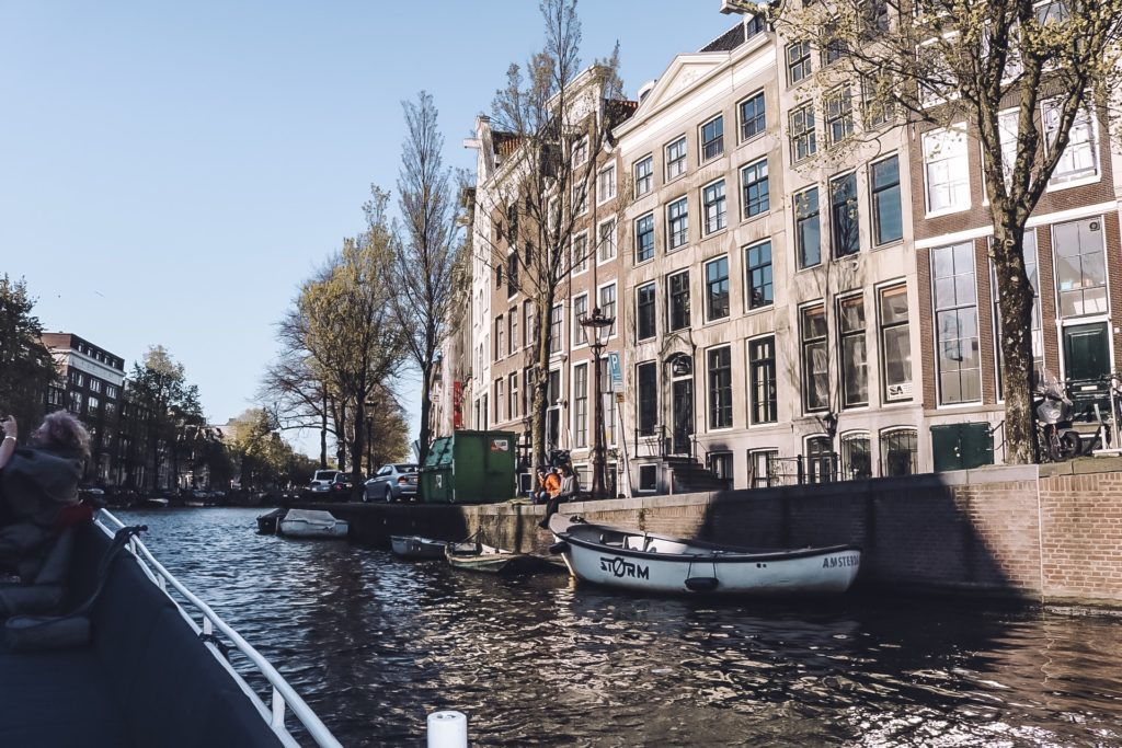 View of canal from boat in Amsterdam
