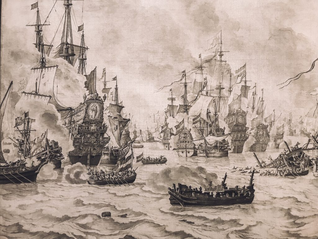 Dutch print of ships done in ink
