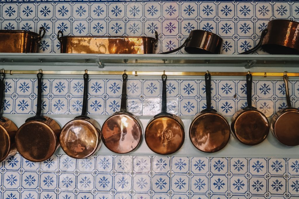 Monet's copper cooking pot collection at Giverny