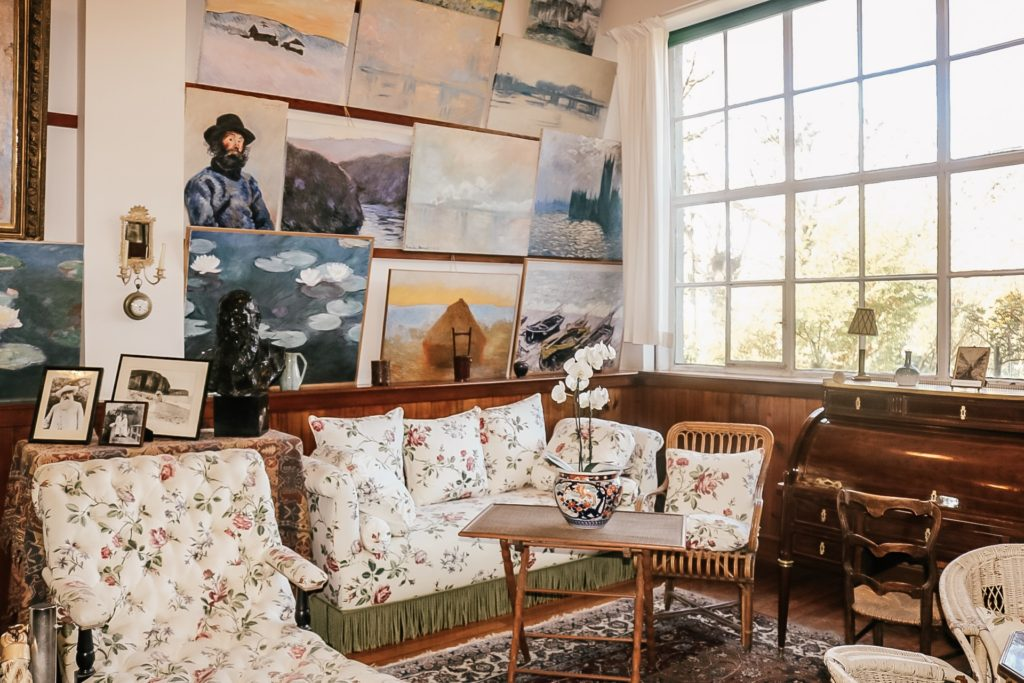 Monet's sitting room with replicas of his paintings at Giverny