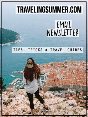 Newsletter graphic with girl overlooking city