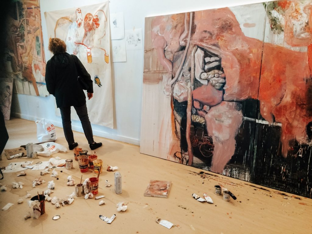 Artworks being created in gallery in NYC