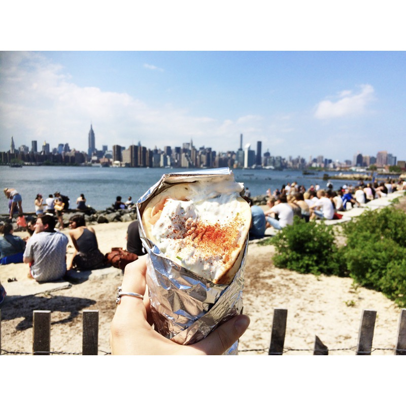 Gyro sandwich in front of NYC skyline