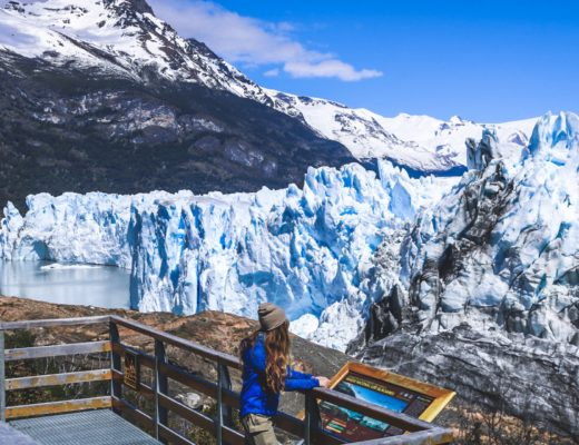 girl in front of Petito Moreno glacier in Argentina