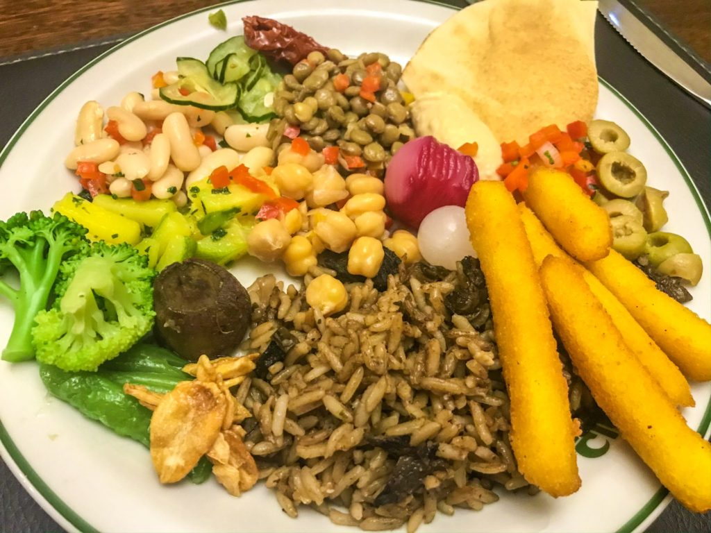 vegan food at churrasceria in Iguazu Falls Brazil