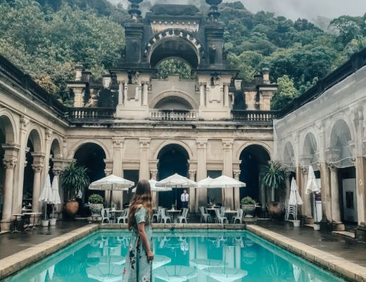 girl in front of pool in Rio de Janeiro Brazil Parque Lage